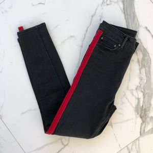 Zara Women Grey Jeans with Red Velvet Stripe